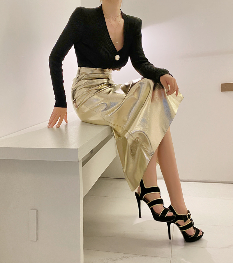 metal slit skirt (gold)
